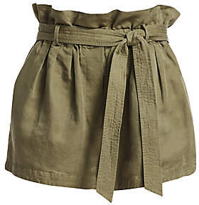 Frame Women's Linen-Blend Paperbag Shorts