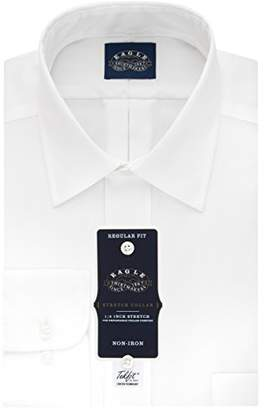 Eagle Men's Non Iron Stretch Collar Regular Fit Solid Point Collar Dress Shirt