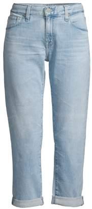 AG Jeans Ex-Boyfriend Slim-Fit Light Wash Crop Jeans