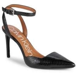 Calvin Klein Rafaella Shiny Snake Print Ankle-Strap Pumps