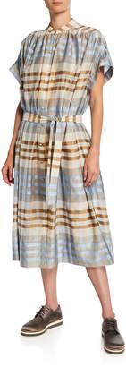 Co Plaid Wool-Silk Button-Front Shirtdress