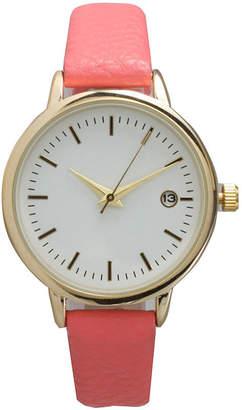 OLIVIA PRATT Olivia Pratt Womens Date Display Dial Coral Leather Watch 15421