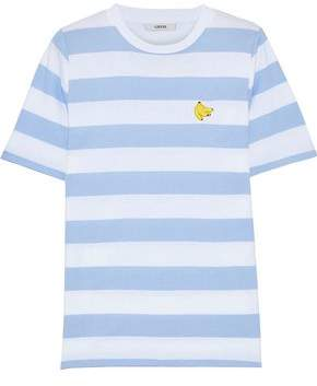 Ganni Everman Appliquéd Striped Cotton-Jersey T-Shirt