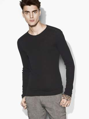 John Varvatos 2x1 Rib Stitch Crew Neck With Shoulder Detail