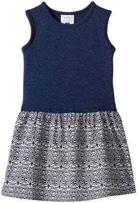 Toobydoo Soft Navy Tank Dress with Patterned Skirt Girl's Dress
