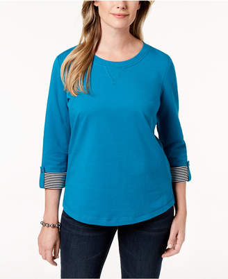 Karen Scott Petite French Terry Roll-Tab-Sleeve Top