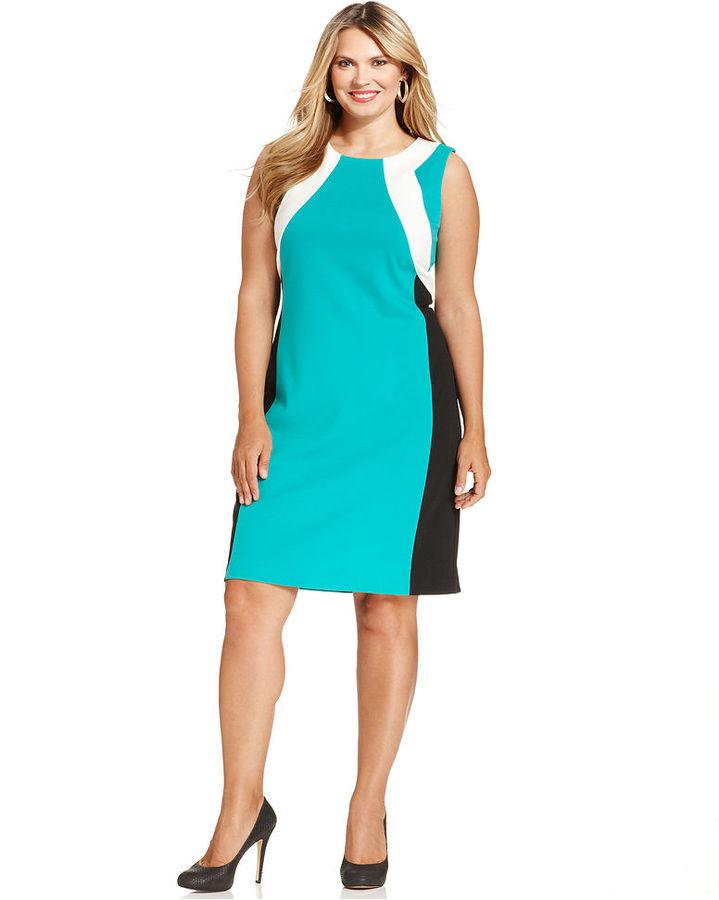 Calvin Klein Plus Size Sleeveless Colorblocked Sheath Dress