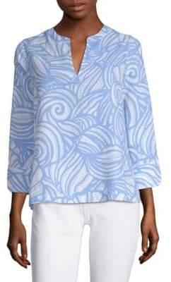 Vineyard Vines Nautulis Shell Print Linen Tunic