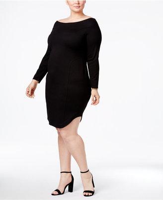 RACHEL Rachel Roy Trendy Plus Size Off-The-Shoulder Dress $139 thestylecure.com