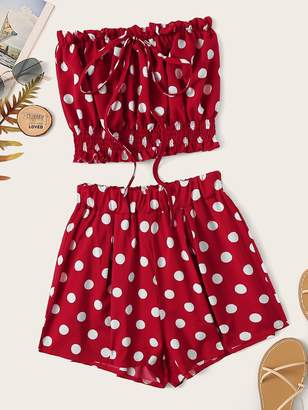 Shein Polka Dot Lettuce Frill Knot Tube Top With Shorts