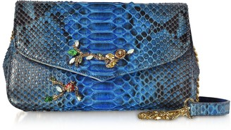 Ghibli Deep Blue Python leather Small Shoulder Bag w/Crystals