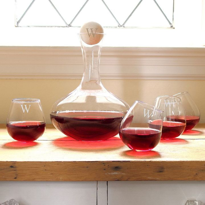 Cathys concepts Cathy's Concepts Monogram Wine Decanter and Tipsy Wine Glass Set
