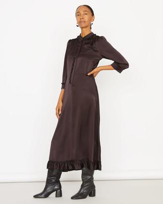 Jigsaw Silk Satin Ruffle Shirt Dress