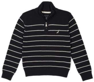 Nautica Toddler Boys Zip Neck Striped Sweater