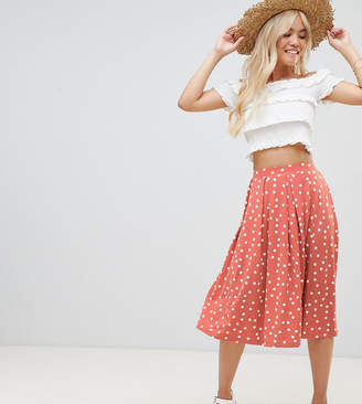Asos DESIGN Petite midi skirt with box pleats in polka dot