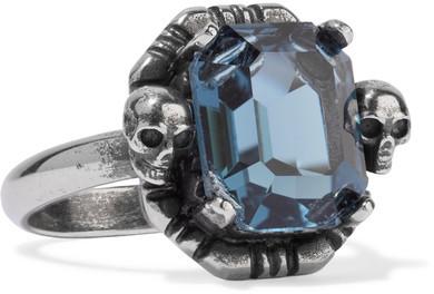 Alexander McQueenAlexander McQueen - Ruthenium-tone Swarovski Crystal Ring - Silver
