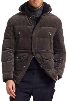 Brunello Cucinelli Cord Hooded Down Cashmere Puffer Jacket
