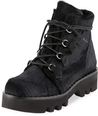Neir Lace-Up Lug-Sole Booties, Black
