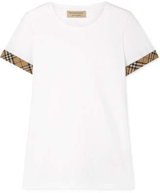 Burberry Checked Canvas-trimmed Stretch-cotton Jersey T-shirt - White