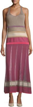 Agnona Sleeveless Mixed-Knit Maxi Dress