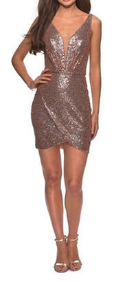 La Femme Sequined Dress With Faux Wrap Skirt And Open Back