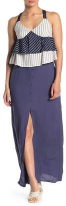 HIATUS Solid Button Front Slit Maxi Skirt