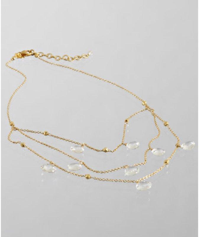 Nancy Cohen white topaz briolette triple layered necklace
