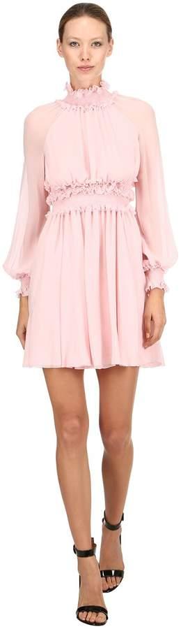 Draped Silk Mini Dress