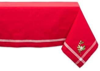 "Design Imports Formal Rectangle Embroidered Mistletoe Corner Kitchen Tablecloth, 52"" x 52"", 100% Cotton, Multiple Sizes"