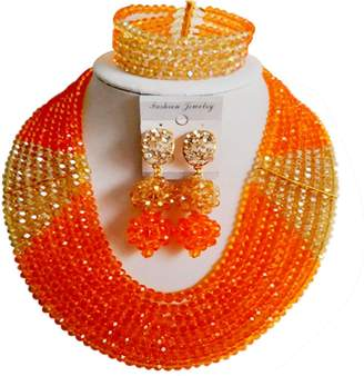 laanc Nigeria Beads 8 Rows Necklace Bracelet Earrings Ladies jewelry Sets
