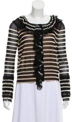 Jean Paul Gaultier Soleil Striped Ruffle-Accented Top