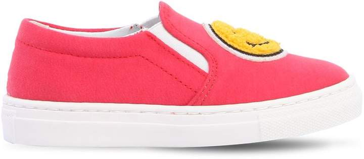 Smile Cotton Jersey Slip-On Sneakers