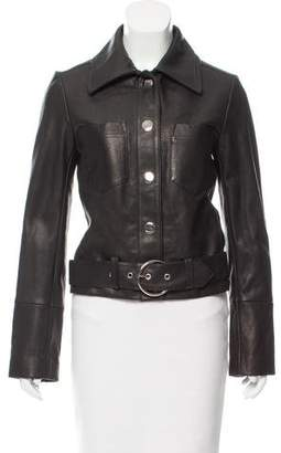 Veda Leather Button-Up Jacket w/ Tags