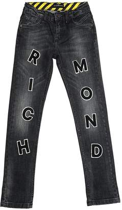 John Richmond Logo Patches Stretch Denim Jeans