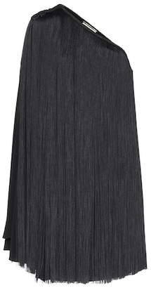 Saint Laurent Fringed one-shoulder minidress