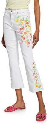 7 For All Mankind High-Waist Slim Kick Jeans with Embroidery