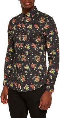 Topman Snake Floral Print Shirt