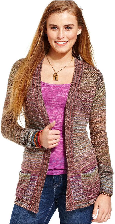 American Rag Juniors Sweater, Long Sleeve Striped Cardigan