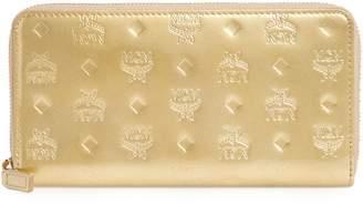 MCM Patricia Visetos Metallic Leather Zip Around Wallet