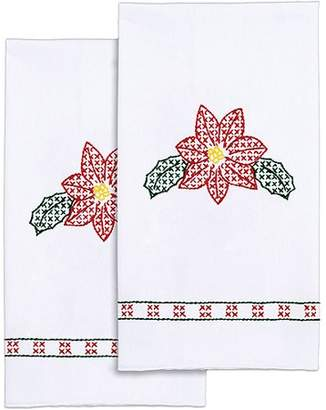 "Janlynn Stamped White Decorative Hand Towel 17""X28"" One Pair-Poinsettia"