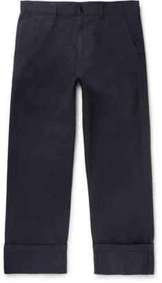 Dries Van Noten Navy Cotton-Twill Trousers