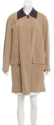 Bergdorf Goodman Leather-Trimmed Knee-Length Coat
