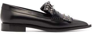 Alexander McQueen Studded Point Toe Leather Loafers - Womens - Black Silver