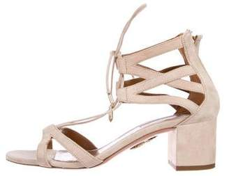 Aquazzura Suede Ankle Strap Sandals
