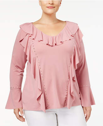 Belldini Plus Size Ruffled Studded Blouse