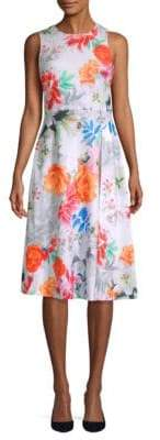Calvin Klein Floral Knee-Length Flare Dress