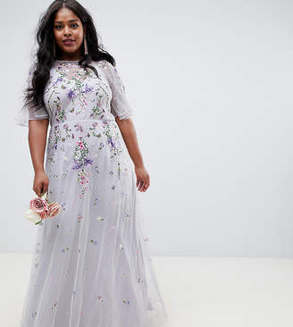 1a8f2b9694 Asos DESIGN Curve floral embroidered dobby mesh flutter sleeve maxi dress