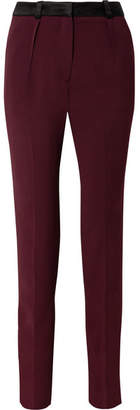 Thierry Mugler Satin-trimmed Crepe Slim-leg Pants - Burgundy