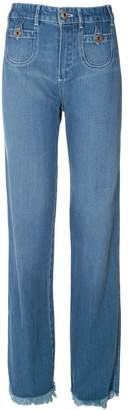 See by Chloe Frayed Hem High-rise Straight-leg Jeans