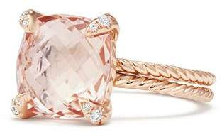 David Yurman Châtelaine Ring with Morganite and Diamonds in 18K Rose Gold